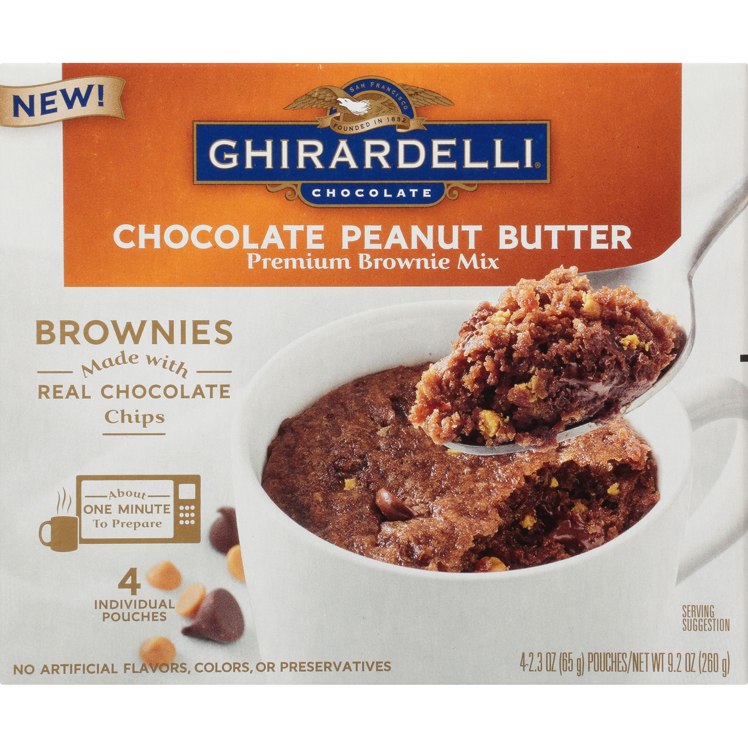 Ghirardelli Chocolate Peanut Butter Mug Brownie Mix, 9.2-Ounce Box