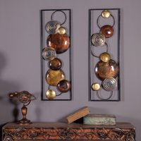 Winsome House Circular Abstract Metal Wall Sculpture - Set of 2