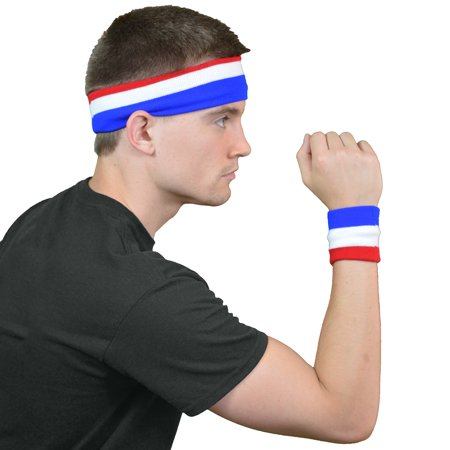 HDE American Pride Sweat Band Set Headband and Wrist Band Combo Bundle for Exercise Workout Home Outdoor Costume and Cosplay (USA Striped)