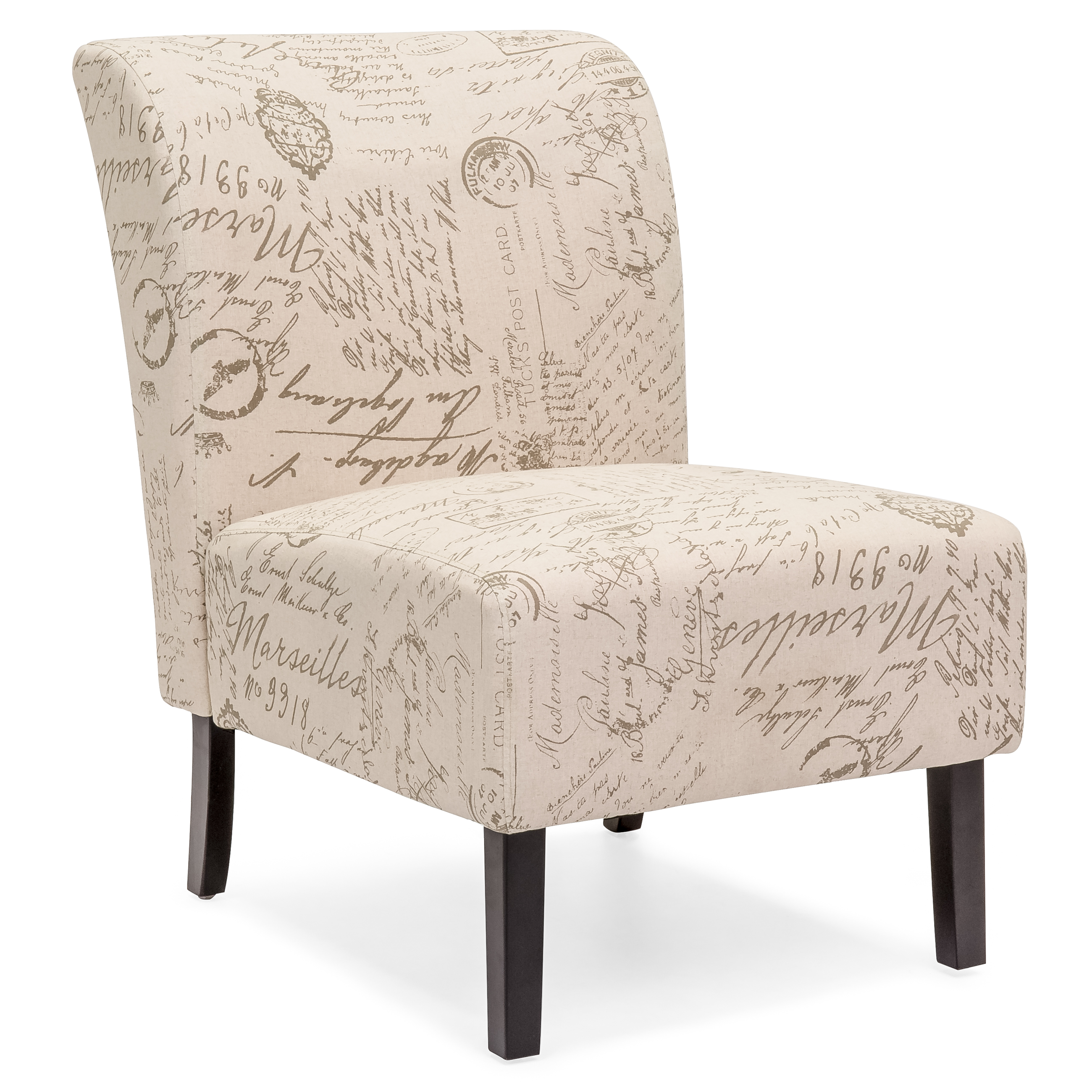 Best Choice Products Modern Contemporary Upholstered Armless Accent Chair (Brown/White)