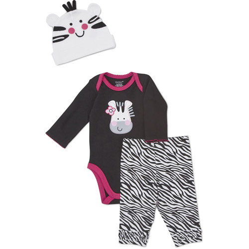 Gerber Newborn Girls' 3 Piece Zebra Hat, Creeper and Pant Set