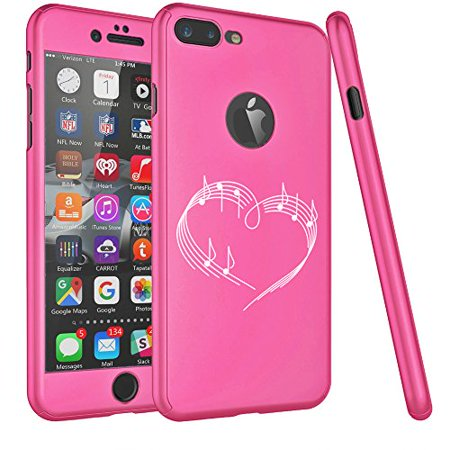 For Apple iPhone 360° Full Body Thin Slim Hard Case Cover + Tempered Glass Screen Protector Heart Love Music Notes (Hot Pink For iPhone 6 Plus / 6s Plus) - Music Note Hat