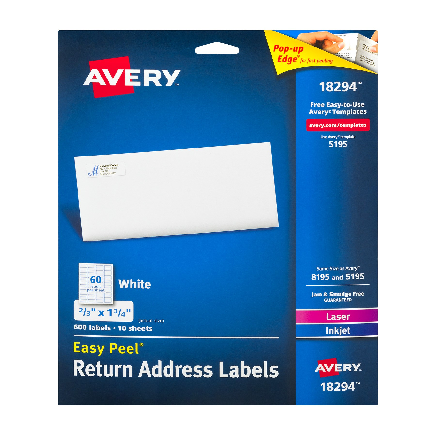 Avery 18294 Easy Peel Return Address Labels - 600 PK, 600.0 PACK