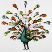 Essential Decor Peacock  Wall Decor with Stones 25.75 X 25.5 X 1 inch