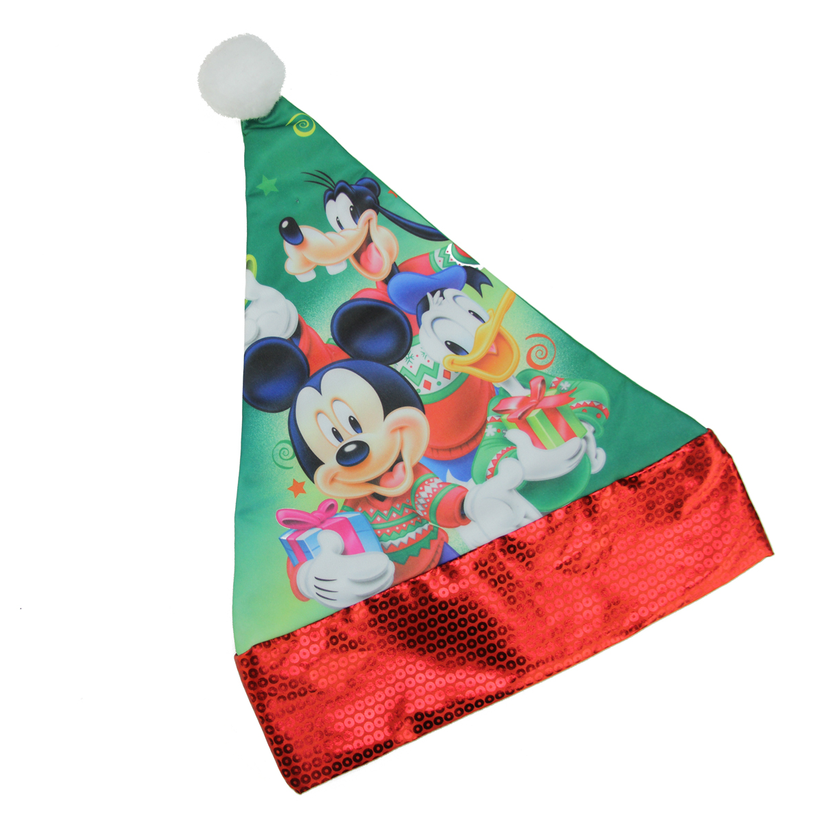 "15"" Disney Mickey Mouse and Friends Children's Green Santa Hat with Red Trim"