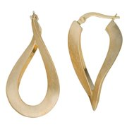 Fremada  10k Yellow Gold Satin Finish Twist Oval Hoop Earrings
