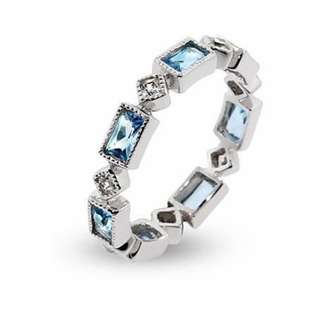 Blue Topaz & Clear CZ Stackable Eternity Ring - Clearance Final Sale