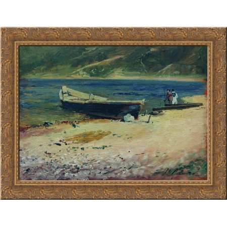 Boat on the coast 24x18 Gold Ornate Wood Framed Canvas Art by Isaac Levitan - Love Boat Isaac