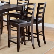 East West FLC-CAP-W Fairwinds Stool Wood Seat with Lader Back, Cappuccino - Pack of 2