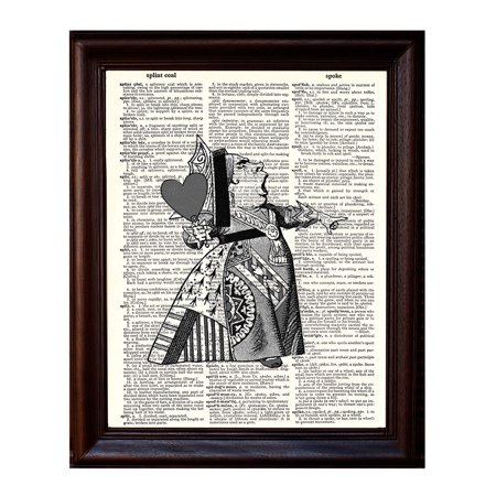 Queen of Hearts - Dictionary Art Print Printed On Authentic Vintage Dictionary Book Page - 8 x 10.5