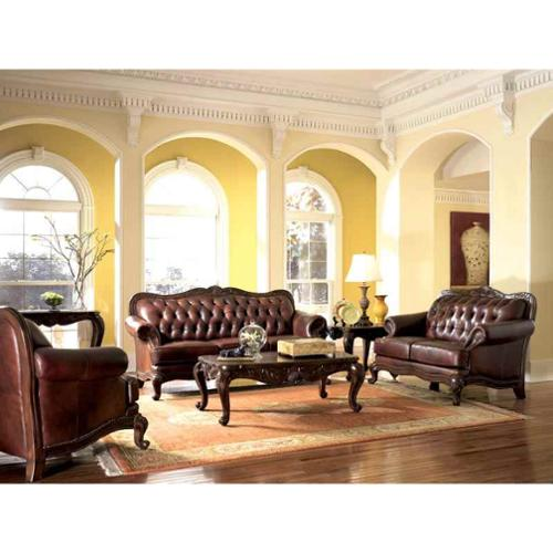 Victorian Style Leather Sofa, Love Seat & Chair Set
