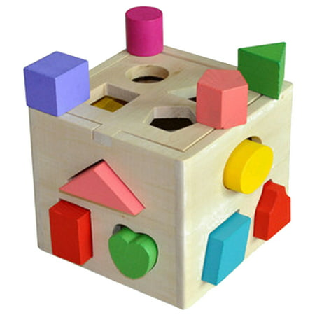 Homeholiday13 Holes Children Educational Box Wooden Building Blocks Toddler Geometric Pairing Toys Learning Tool - image 1 de 7