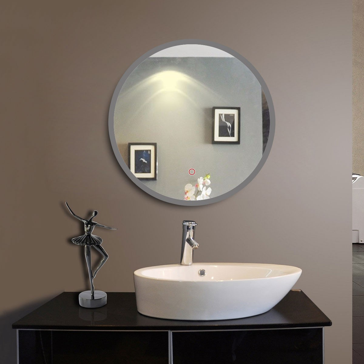 Decoraport Classic Bathroom Round Mirror Wall Mounted Backlit Vanity With Touch Sensor Frameless Lighted Makeup 36 X 28 Inch Cl065 1
