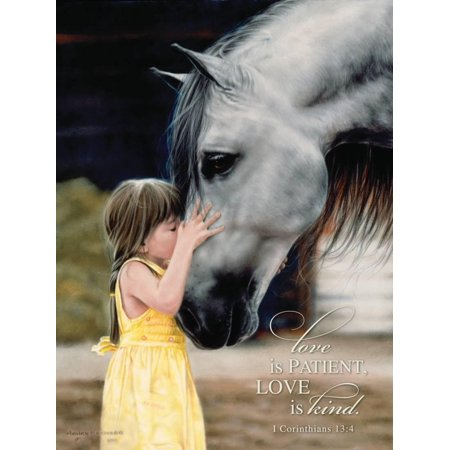 The Kiss Love is Patient Love is Kind Bible Verse with Girl and Horse Print Wall Art By Leslie - Patent Animal Print