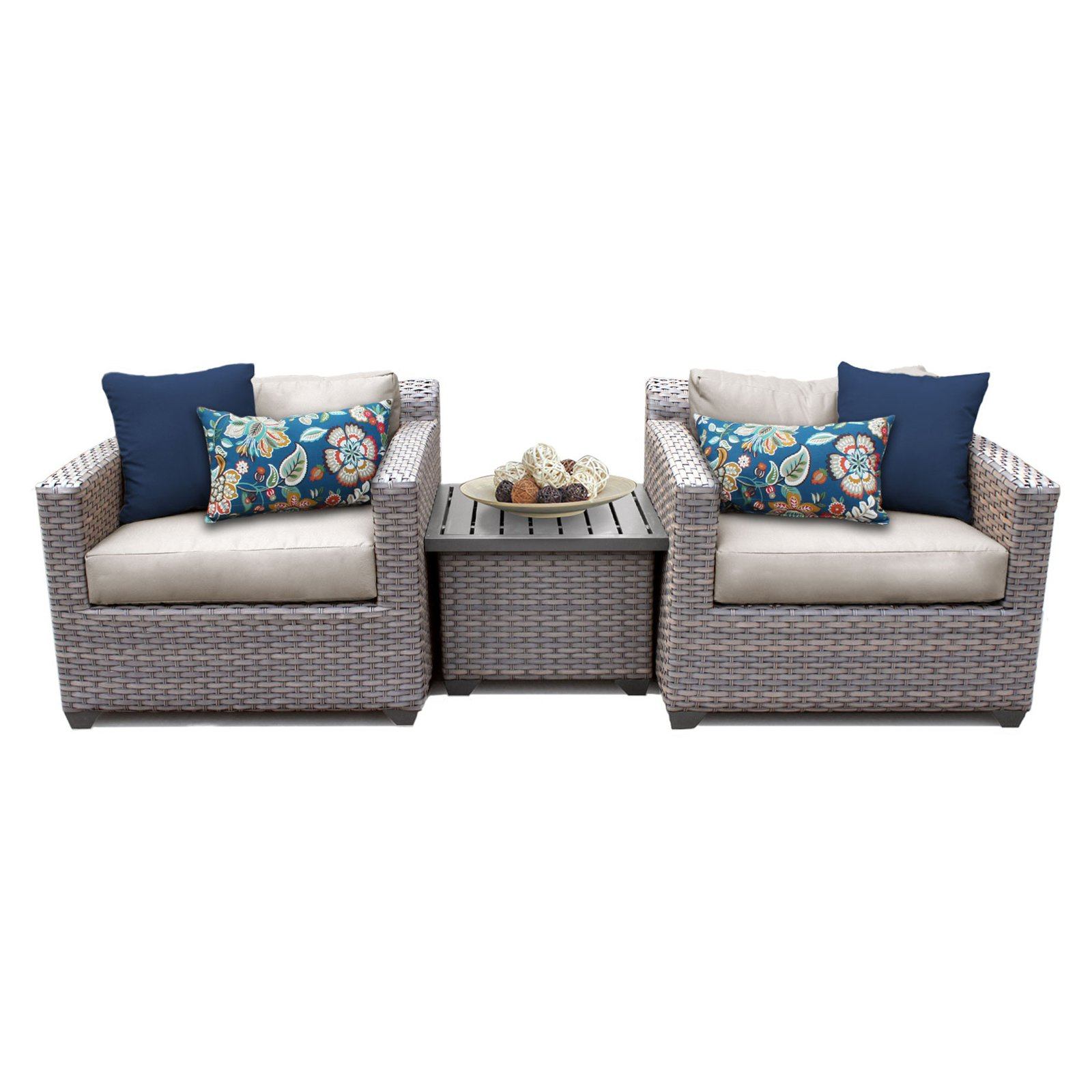 TK Classics Florence Wicker 3 Piece Patio Conversation Set with End Table and 2 Sets of Cushion Covers