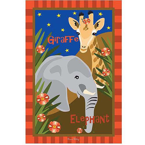 "Trademark Art ""Giraffe & Elephant"" Canvas Art by Grace Riley"
