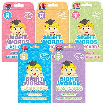 Pint-Size Scholars Ready Readers Bundle: 500 Jumbo-Sized Sight Words Flash Cards in | 5 Levels of Learning from Pre K to Third Grade | 5-Pack of Educational Flashcard Decks for Toddlers and Child - image 1 of 1