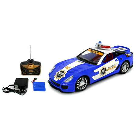 1:16 Scale Super Police Ferrari 599 Remote Control RC Sports Car RTR Ready To Run (Colors May (Rtr Ready Set)