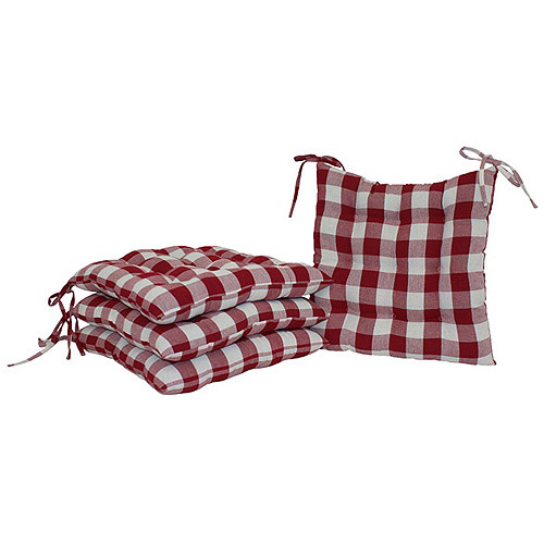 Mainstays Red Plaid Chair Pad, Pack Of 2
