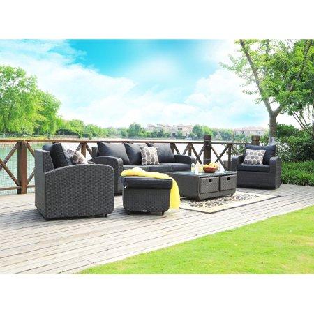 Direct Wicker Tiana 5pc Patio Garden Furniture Sofa Set Sectional Description:Alu sofa set= one three sofa+two single sofa+one table+one ottomanSingle sofa: 31.9''*H 30.7''*33.5'' with 4.7'' cushion and back cushionThree seats sofa: 31.9''*H 30.7''*80.7'' with 4.7'' cushion and back cushionOttoman: 22.8''*22.8''*13.0'' with 4.7'' cushion and back cushionTable: 43.3''*19.7''*15.7'' with 0.3'' tempered glass
