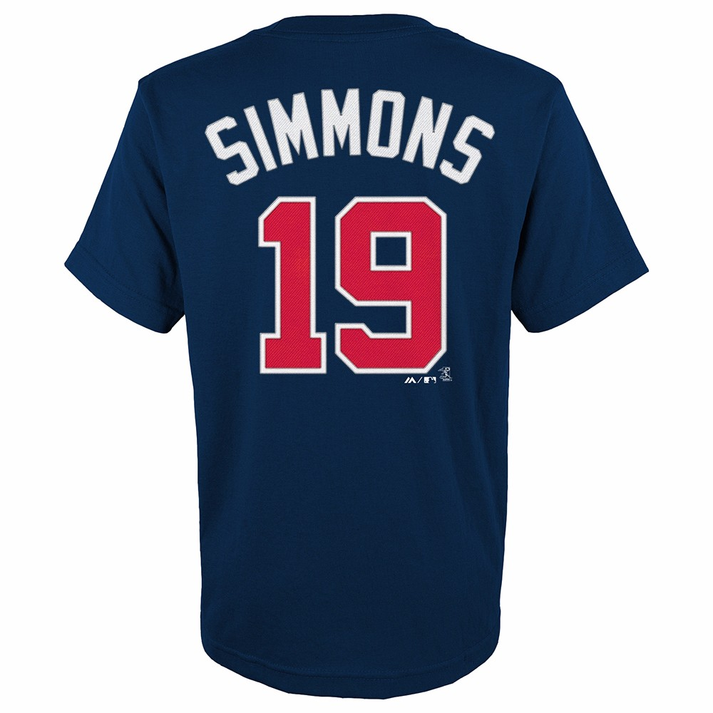 Andrelton Simmons Atlanta Braves MLB Majestic Youth's Navy Blue Player Name & Number Jersey T-Shirt