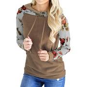711ONLINESTORE Women Long Sleeve Floral Print Drawstring Hoodie with Pocket