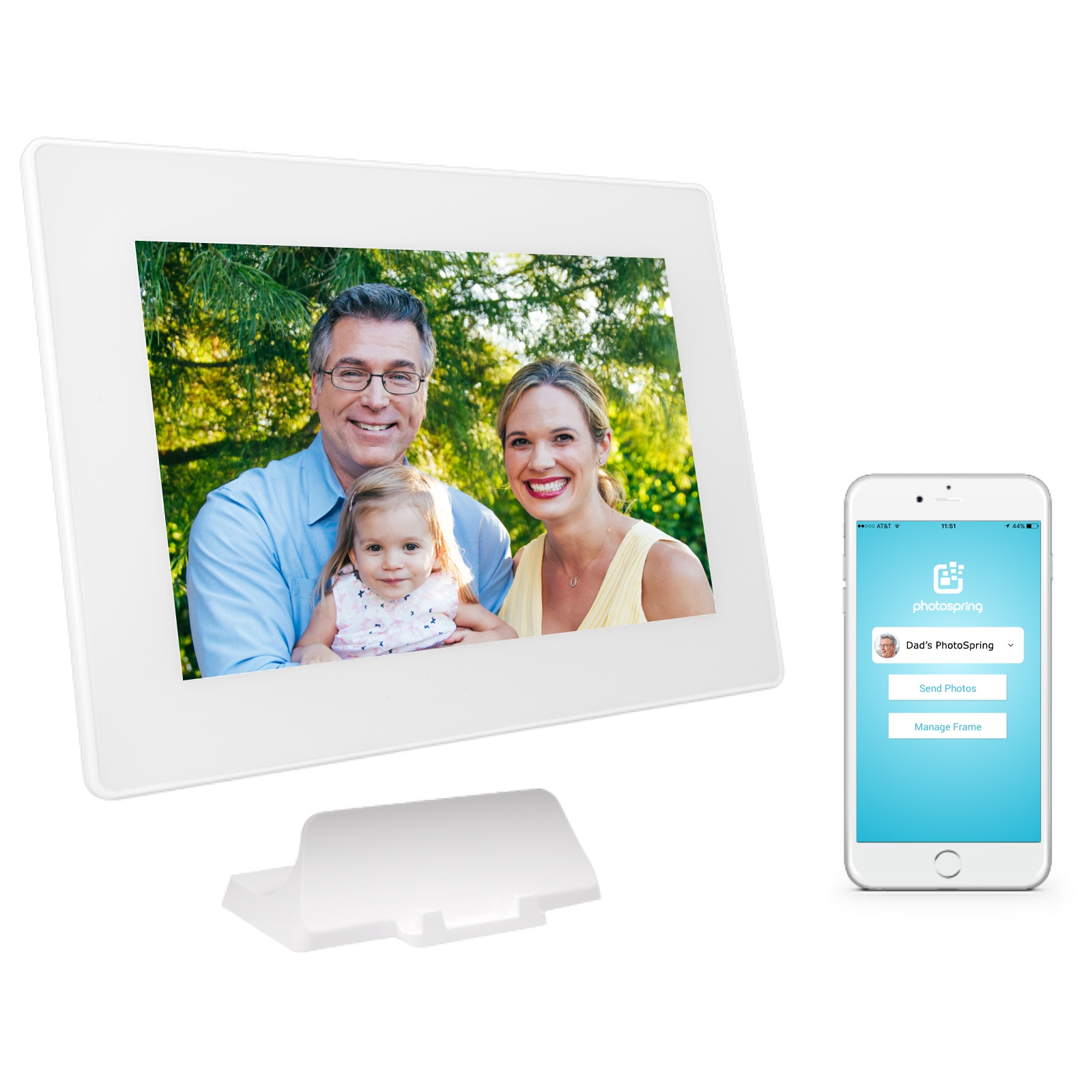 PhotoSpring (16GB) 10in WiFi Digital Photo Frame + Album for Videos & Pictures, Touch Screen, Battery, iPhone & Android App, HD Screen, White - 15,000 photo capacity