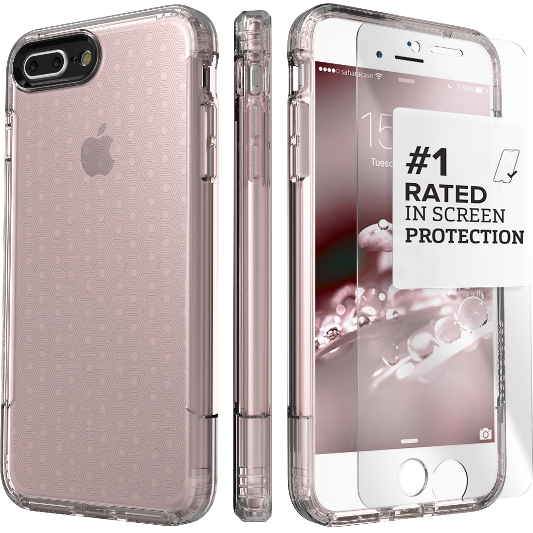 SaharaCase iPhone 8 Plus and 7 Plus Inspire Case, Protective Kit Bundle with ZeroDamage Tempered Glass Screen Protector ? Rose Gold Clear