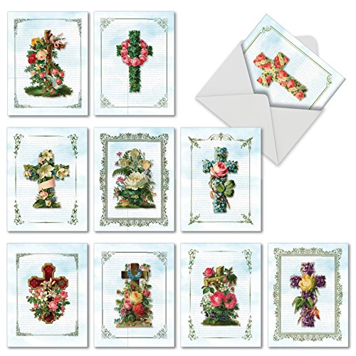 'M6466OCB CROSS CARDS' 10 Assorted All Occasions Note Cards Featuring Lovely Crosses Surrounded by Floral Sprays and Set Against Newspaper Print Backgrounds with Envelopes by The Best Card Company