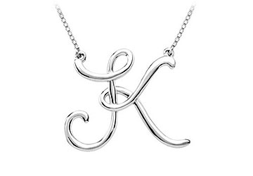 Beautiful Sterling silver 925 sterling Script Initial Necklace Center