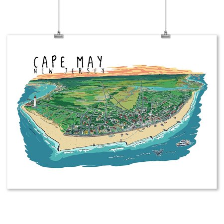 Cape May, New Jersey - Line Drawing - Lantern Press Artwork (9x12 Art Print, Wall Decor Travel Poster) ()