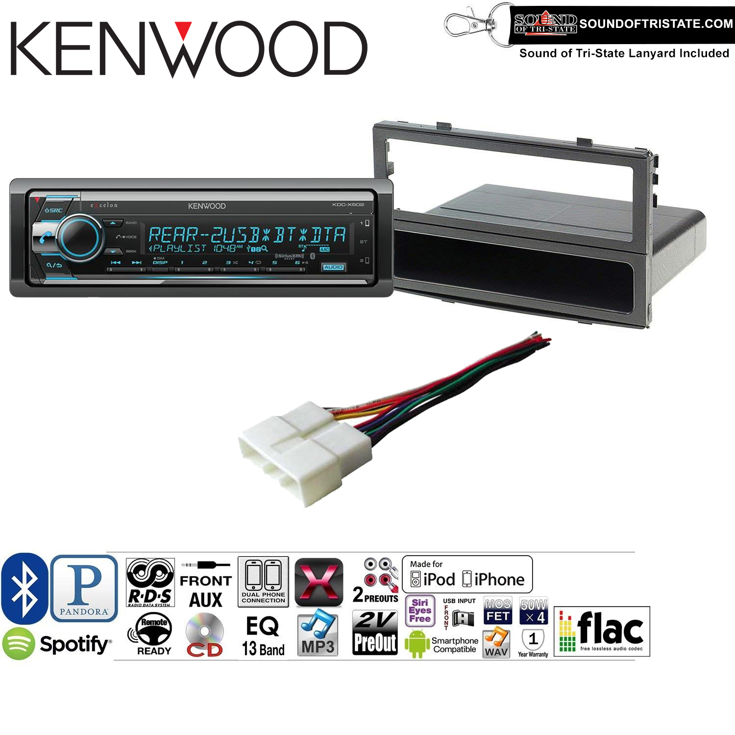 Kenwood KDCX502 Double Din Radio Install Kit with Bluetooth, CD Player, USB/AUX Fits 1990-1997 Honda Accord, 1990-2001 Acura Integra and a SOTS lanyard included