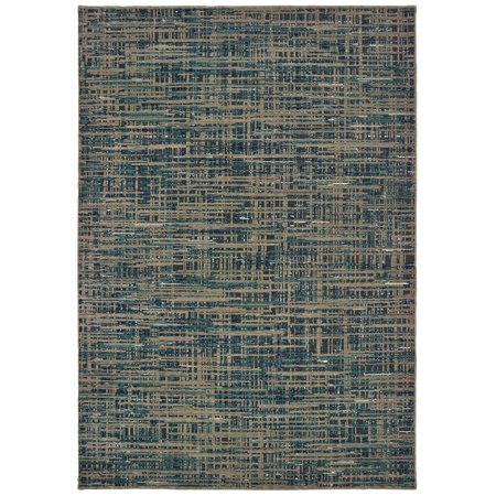 Moretti Grand Junction Area Rugs - 5503D Contemporary Blue Crosshatch Basketweave Lines Banded Rug