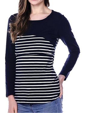 Qtymom Breastfeeding Shirt Striped Patchwork Long Sleeve Maternity Nursing Tops