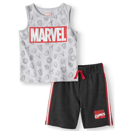 - Avengers Graphic Muscle Tank & Drawstring French Terry Short, 2pc Outfit Set (Toddler Boys)