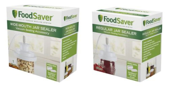 Click here to buy FoodSaver GameSaver Vacuum Sealer Wide Mouth, Regular Jar Sealers Kit.