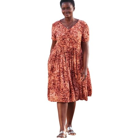 Woman Within Plus Size Short Button-front Crinkle Dress
