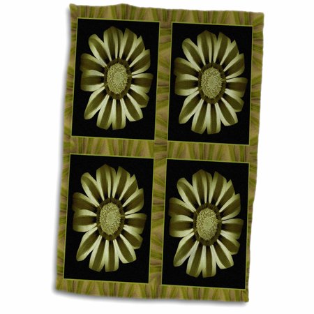 Khaki Olive Green - 3dRose Four olive green striped flowers with olive and khaki flower petal border - Towel, 15 by 22-inch