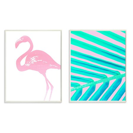- The Stupell Home Decor Collection Flamingo Palm Leaf Wall Plaque - Set of 2
