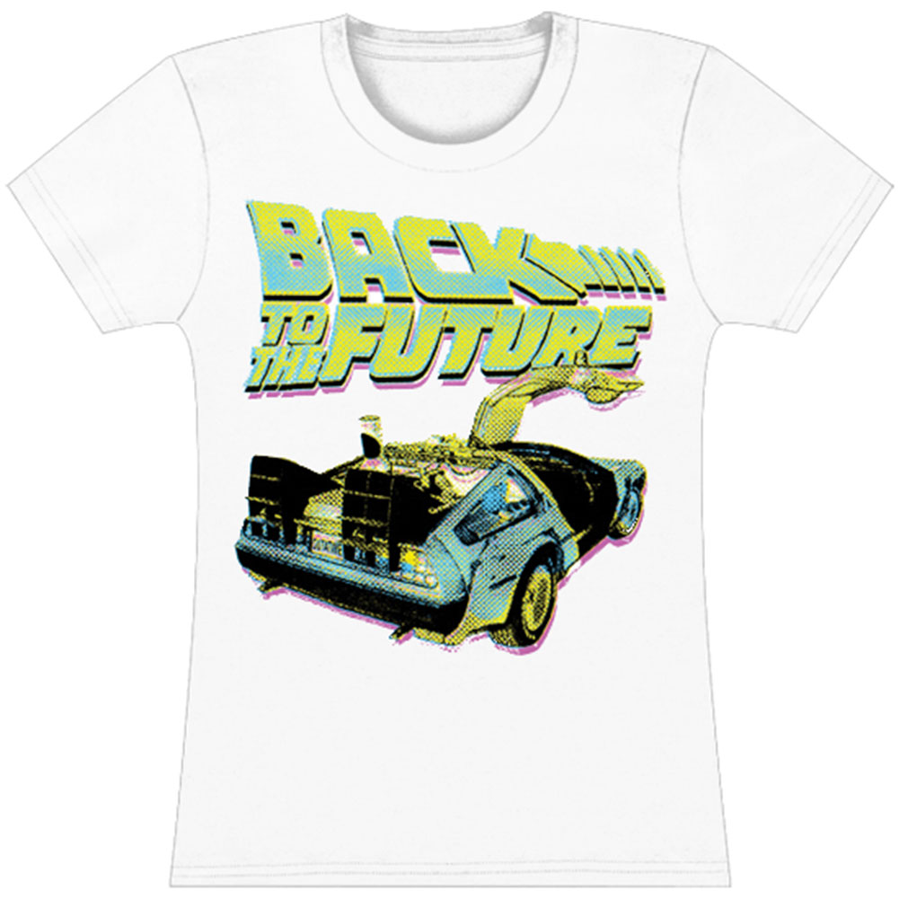 Back To The Future  BTF Neon Girls Jr Tissue Tee White