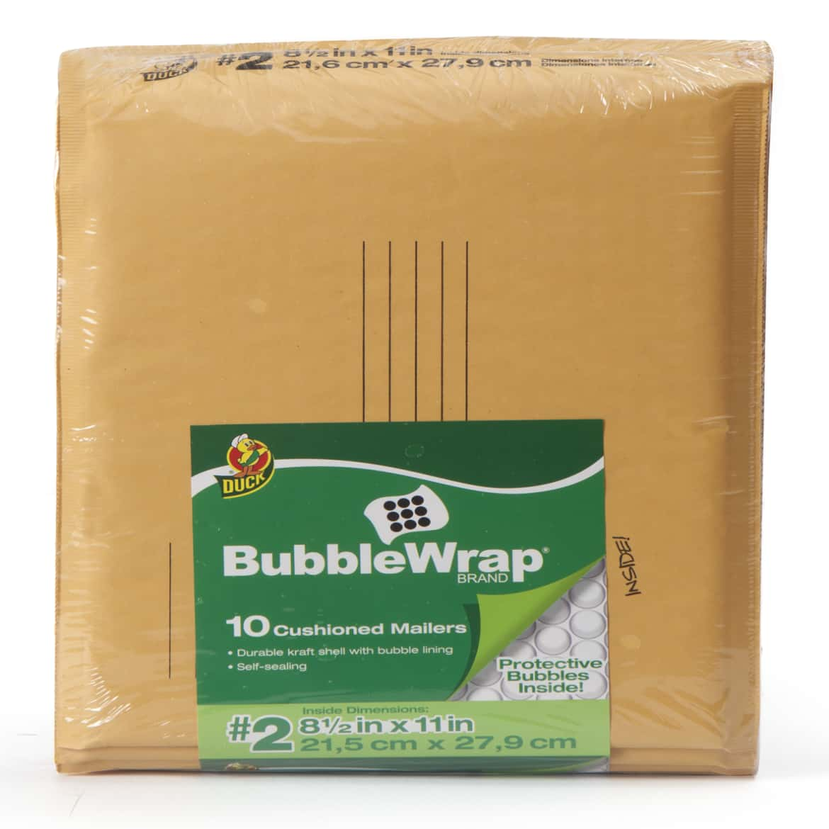 Duck Brand Kraft Bubble Mailers - Manila, 10 pk, 8.5 in. x 11 in.