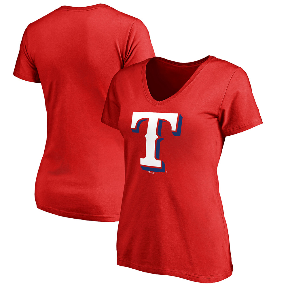 Texas Rangers Women's Primary Logo 2 V-Neck T-Shirt - Red