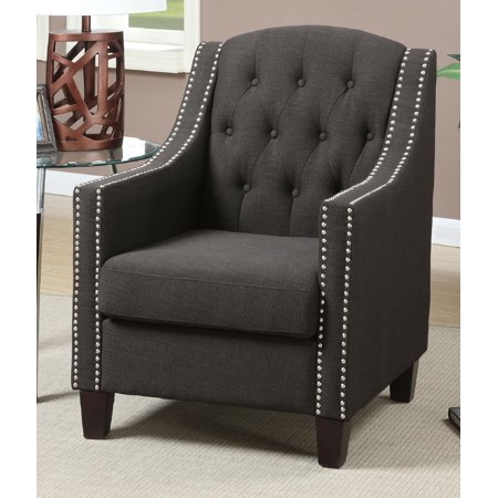 - Poundex F1525 Bobkona Taden Nail Head-Trimmed Accent Chair, Ash Black