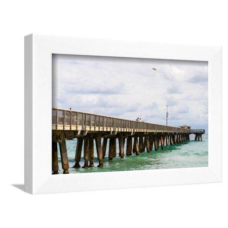 Fishing Pier At Pompano Beach Broward County Florida Usa Framed Print Wall Art