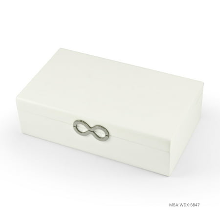 Contemporary 18 Note Matte White Infinity Musical Jewelry Box - Ave Maria, Gounod