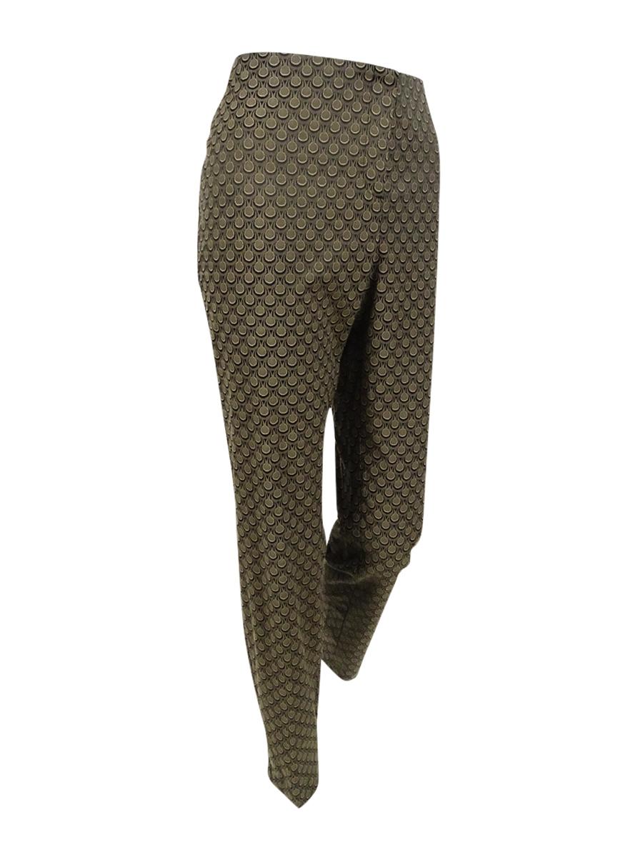 Alfani Women's Petite Printed Jacquard Pants (8P, Tear Drop Camel)