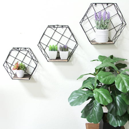 Admired By Nature Hexagon wall-mounted metal wire hanging shelves, Black, Set of 3 ()