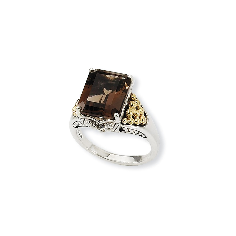 Sterling Silver with 14k Yellow Gold 4 Smokey Quartz Ring