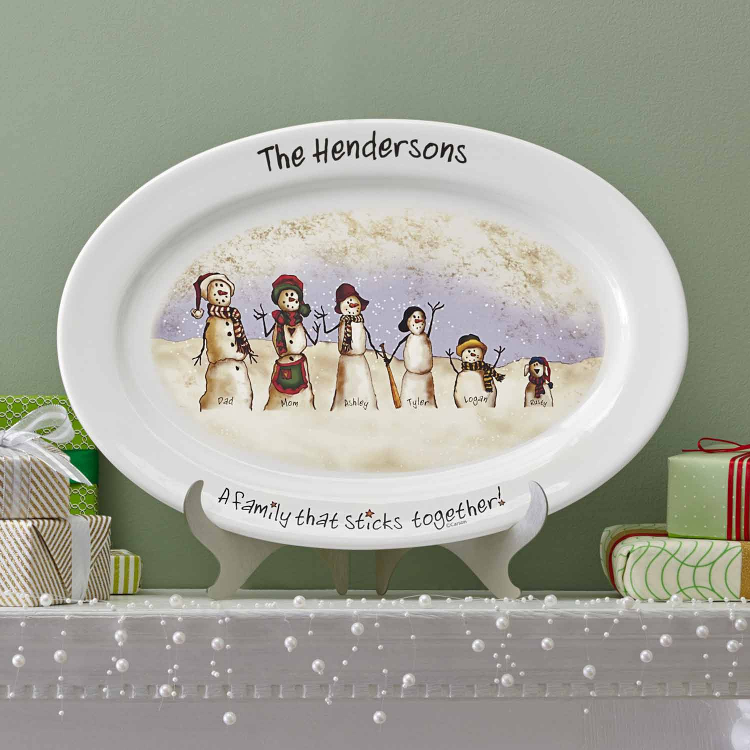 Personalized Snowmen Stick Family Platter