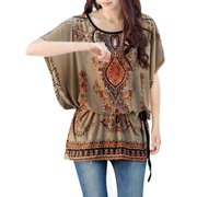 Women's Tie-waist Loose Fit Printed Tunic Top Beige (Size L / 12)